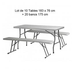 Pack 10 Tables polyéthylène 183cm + 20 bancs polyéthylènes