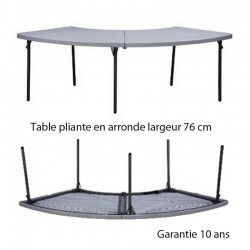 TABLE PLIANTE EN ARRONDE LARGUEUR 76 Pour table rectangulaire L 183