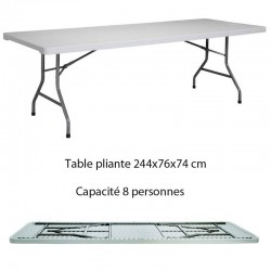 Table  polyéthylène rectangulaire pliante XL240 de dimension 244x76x74