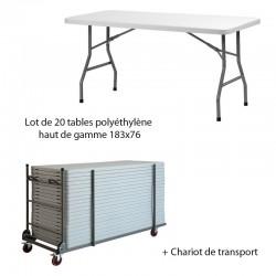 Lot de 20 tables polyéthylène haut de gamme 183x76 + Chariot de transport PROMOTION