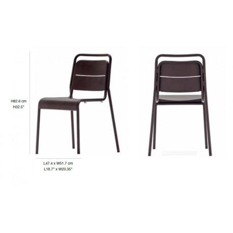 Chaise en acier Alma New classic 47.4 x 51.7 x 82.6 cm