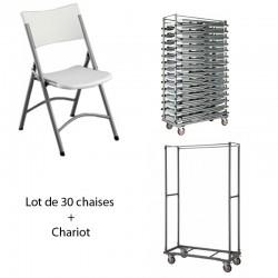 30 chaises + 1 Chariot capacité 30 chaises PROMOTION.