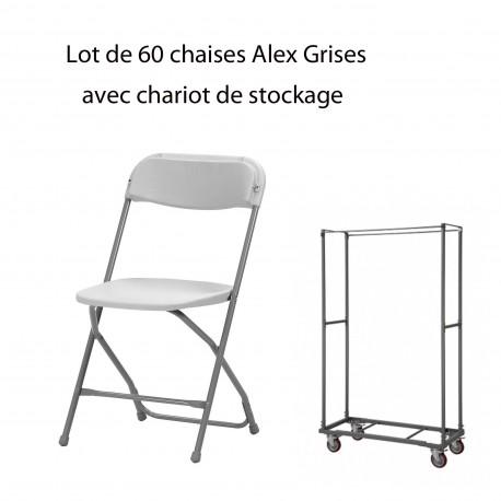 60 chaises Alex + Chariot de stockage (capacité de 60 chaises)