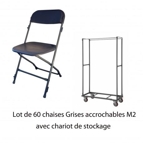 60 chaises accrochables M2+ Chariot de stockage (capacité de 60 chaises)