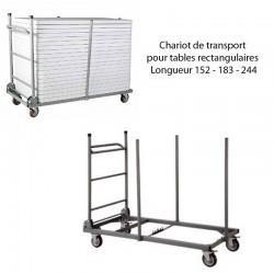 Chariot de transport pour tables rectangulaires Longueur 152 - 183 - 244 Capacité 20 tables pour L 152 et 183 - 18 tables pour L