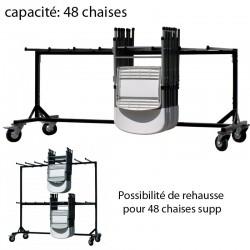 Chariot pour chaises pliantes - capacité: 48 chaises Possibilité de rehausse pour 48 chaises supp.