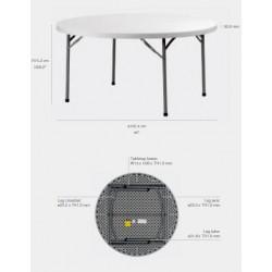 Lot de 10 tables polyéthylène haut de gamme diamètre 152