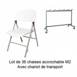 Lot de 36 chaises JUMBO M2 avec chariot Liam trolley