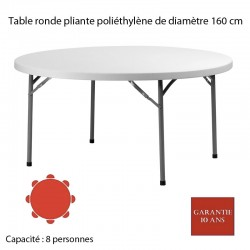 Table ronde pliante poliéthylène PLANET 160 Diam: 160 Quantité de commande minimum de 5 tables