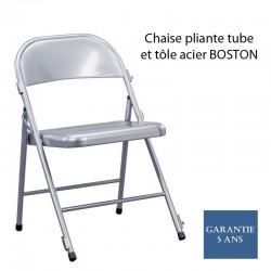 Chaise pliante tube et tôle acier BOSTON Avec système de raccord Usage public intensif.VENDU PAR COLIS DE QUATRE CHAISES